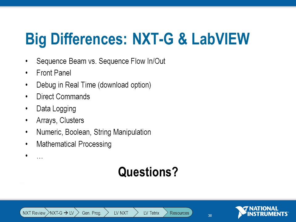 Big Differences: NXT-G & LabVIEW