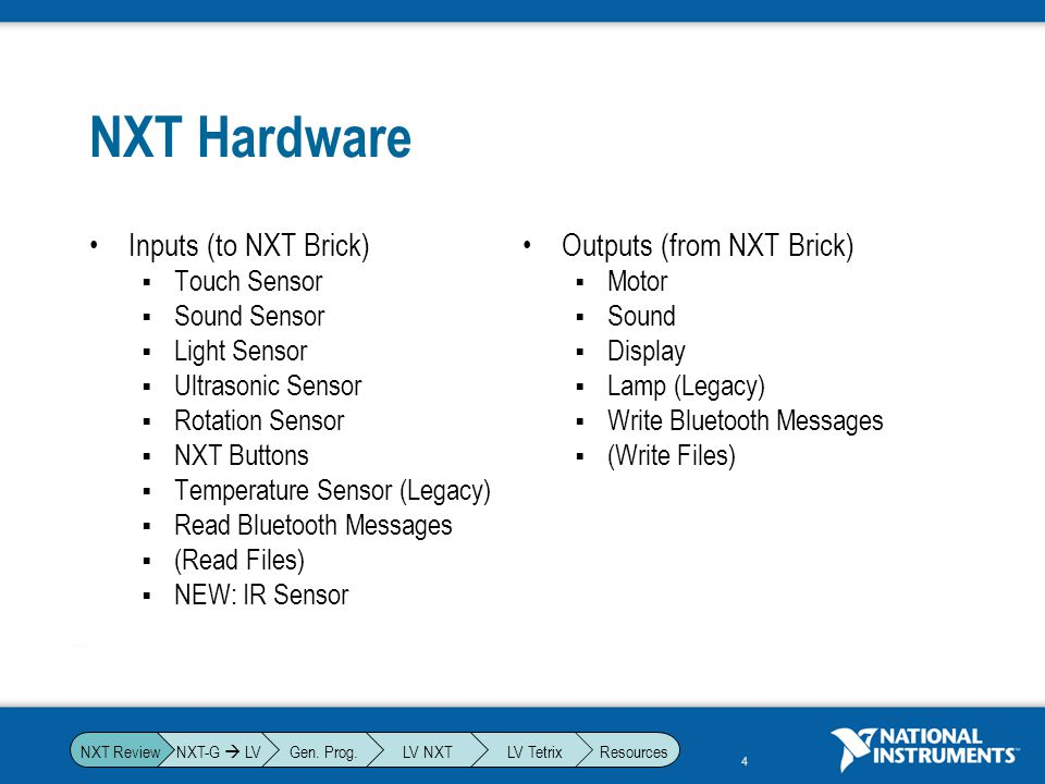 NXT Hardware Inputs (to NXT Brick) Outputs (from NXT Brick)