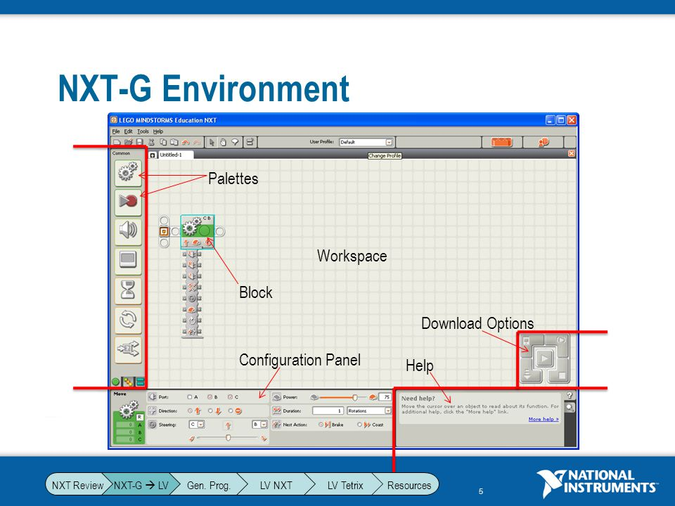 NXT-G Environment Palettes Workspace Block Download Options