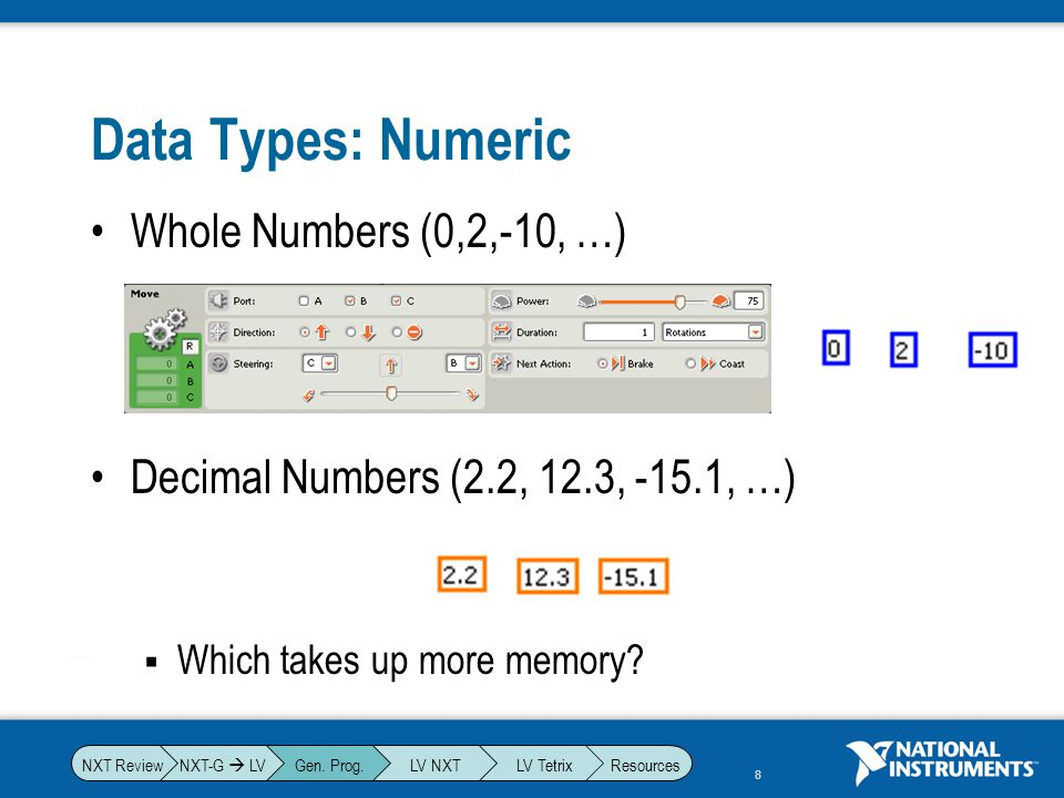 Data Types: Numeric Whole Numbers (0,2,-10, …)