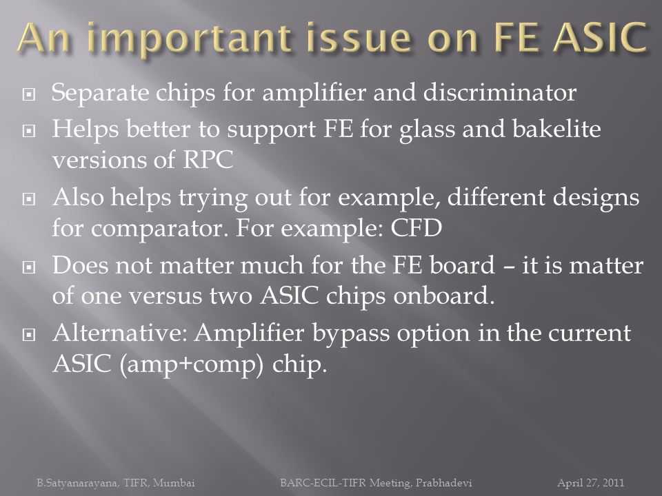 An important issue on FE ASIC