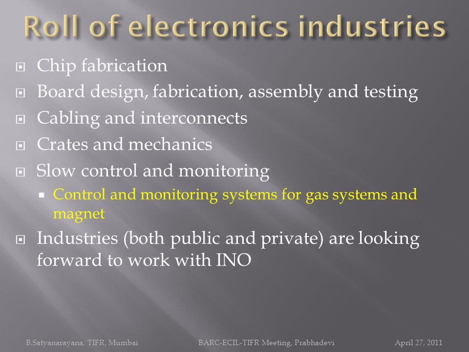 Roll of electronics industries