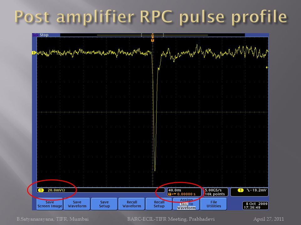 Post amplifier RPC pulse profile