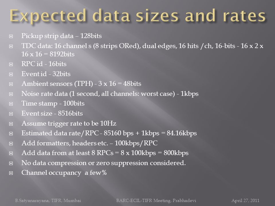 Expected data sizes and rates