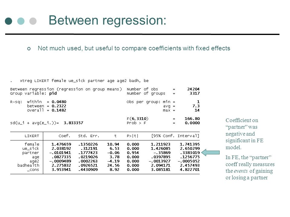 Between regression: Not much used, but useful to compare coefficients with fixed effects.
