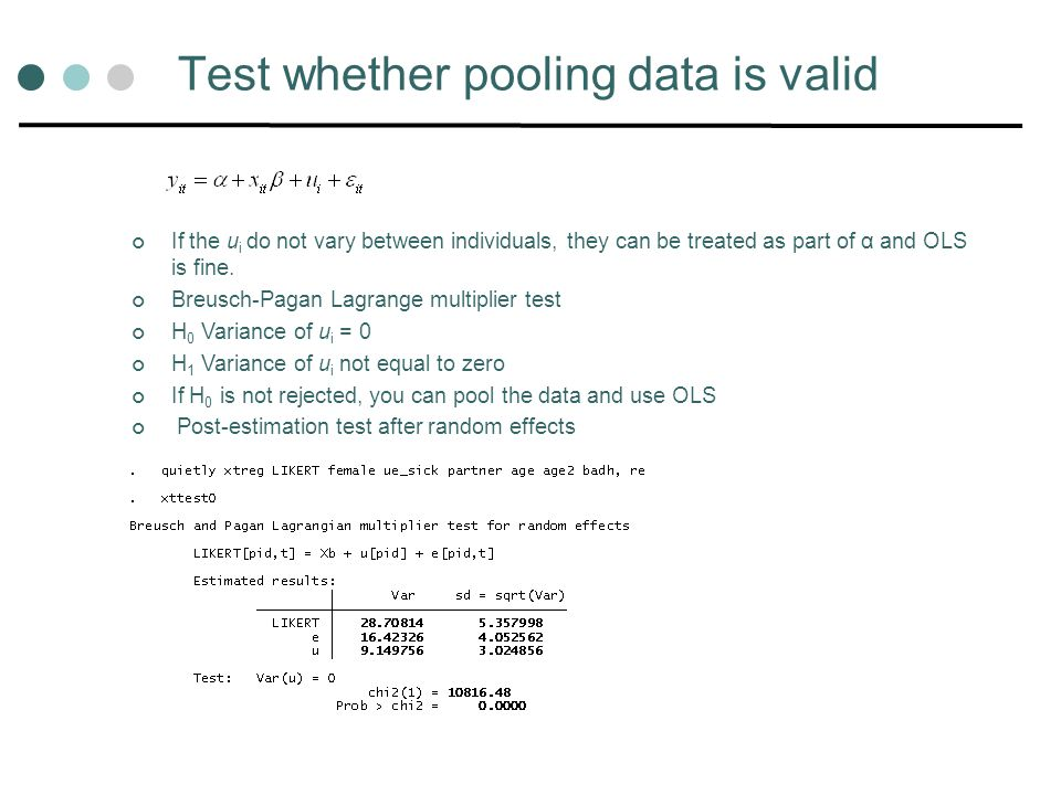 Test whether pooling data is valid