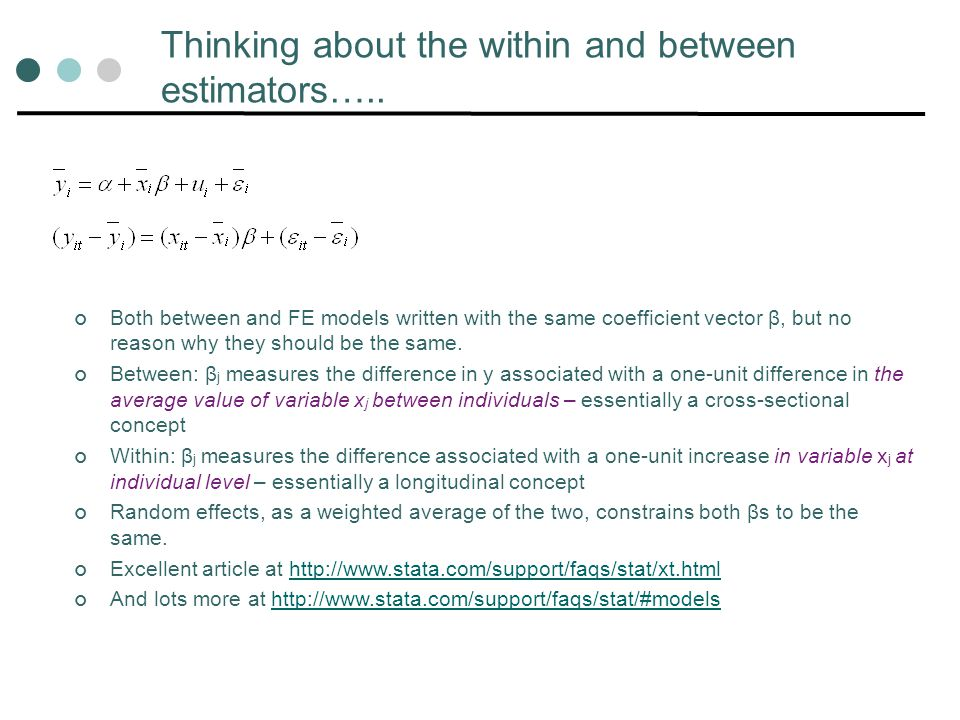 Thinking about the within and between estimators…..