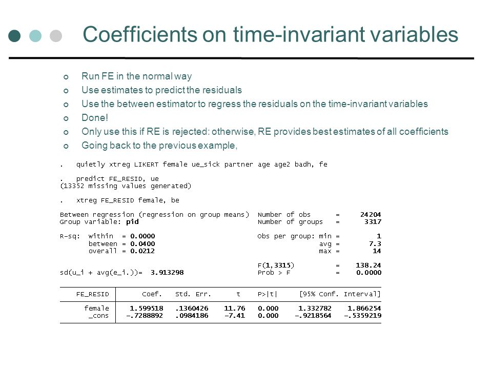 Coefficients on time-invariant variables