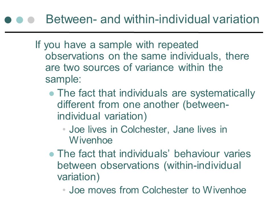 Between- and within-individual variation