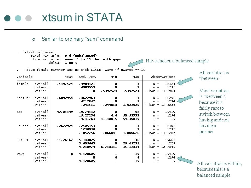 xtsum in STATA Similar to ordinary sum command