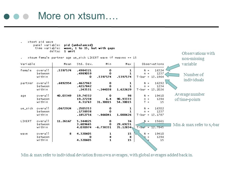 More on xtsum…. Observations with non-missing variable