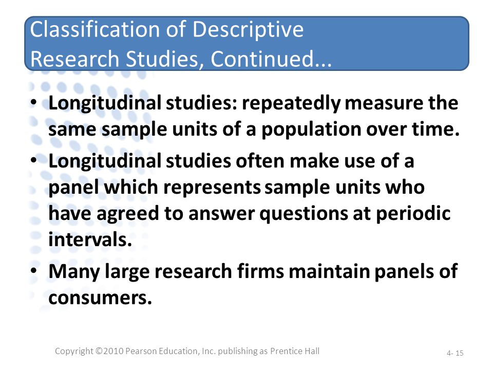 Classification of Descriptive Research Studies, Continued...