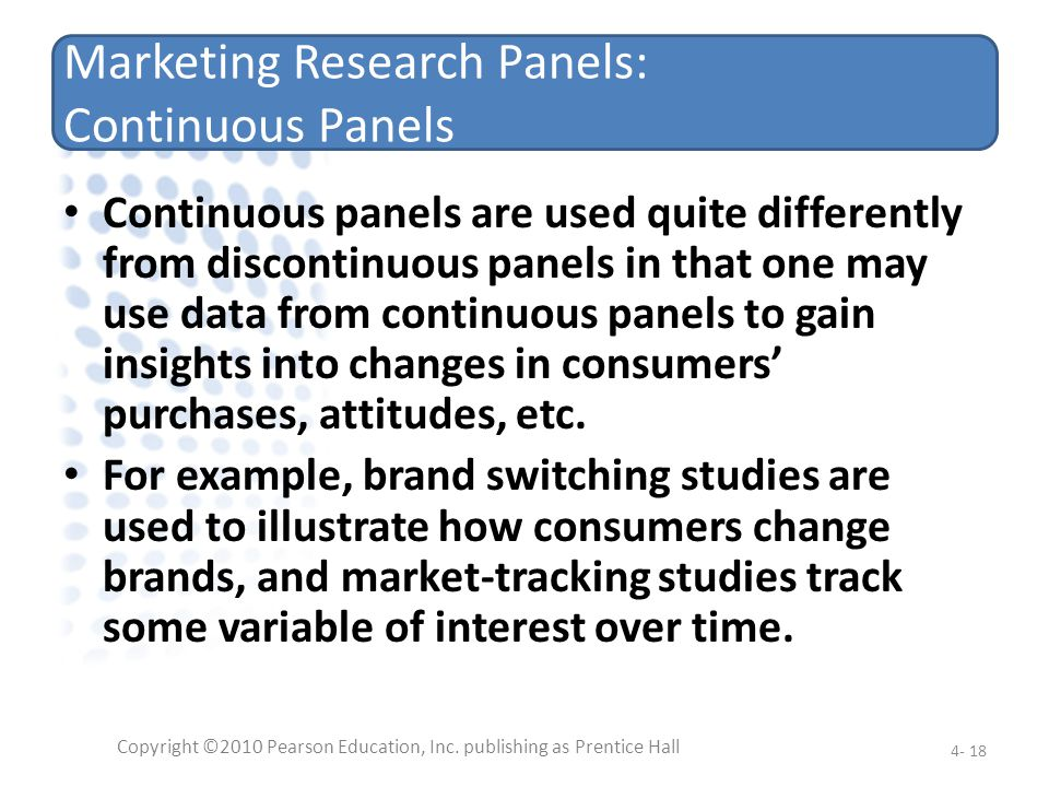 Marketing Research Panels: Continuous Panels