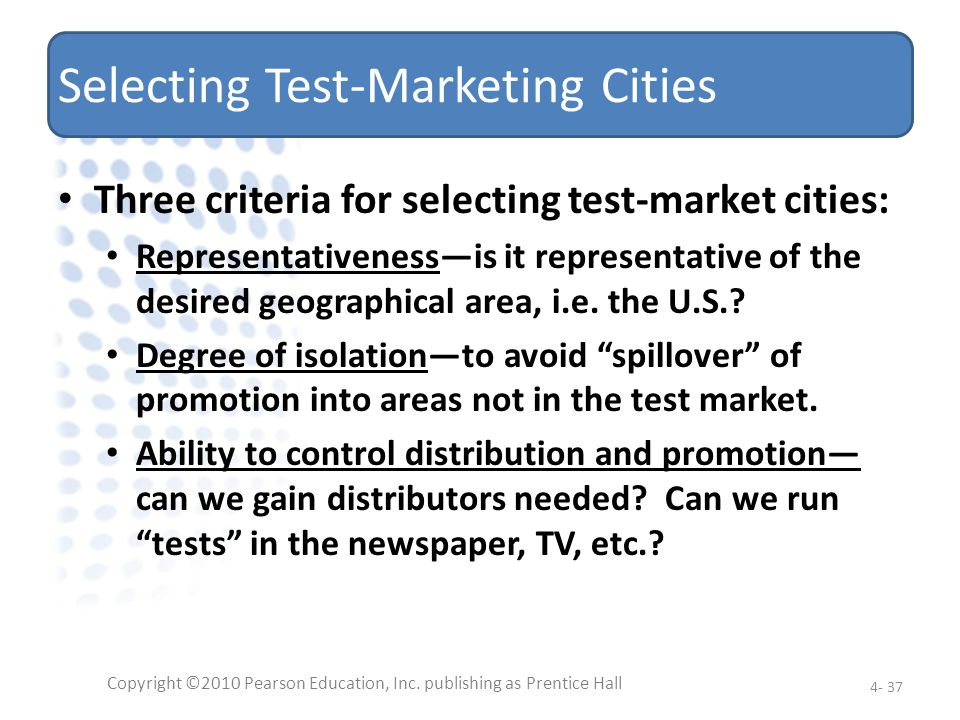 Selecting Test-Marketing Cities
