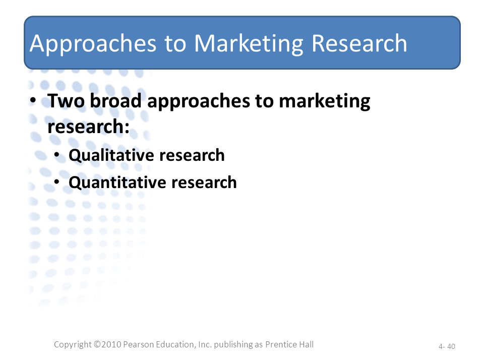 Approaches to Marketing Research