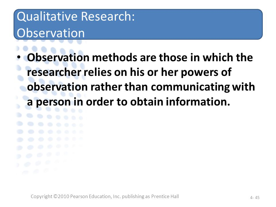 Qualitative Research: Observation