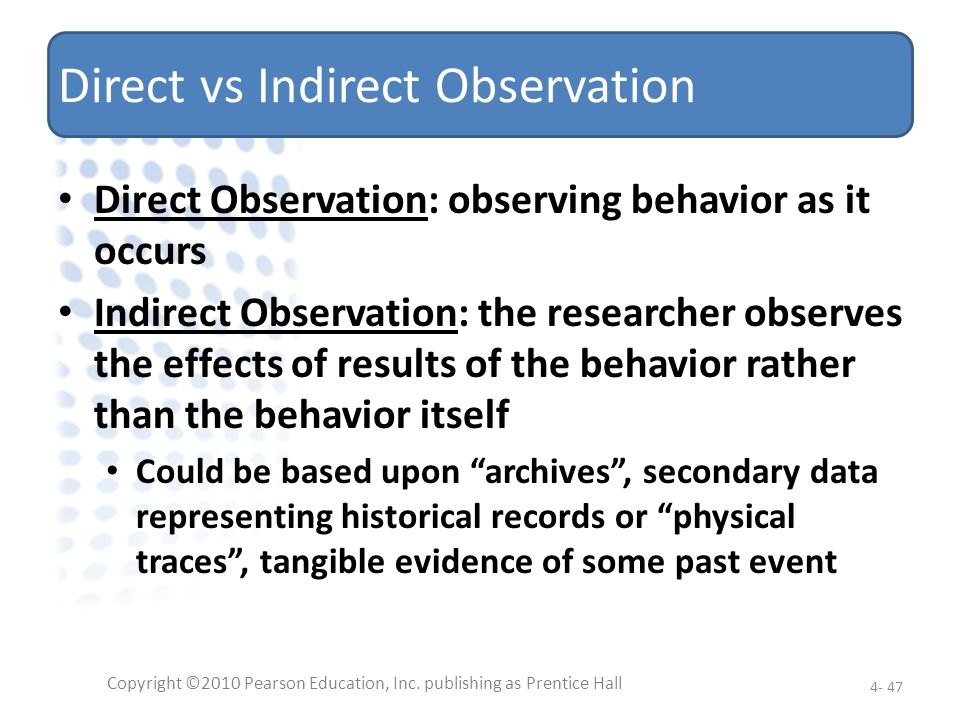 Direct vs Indirect Observation
