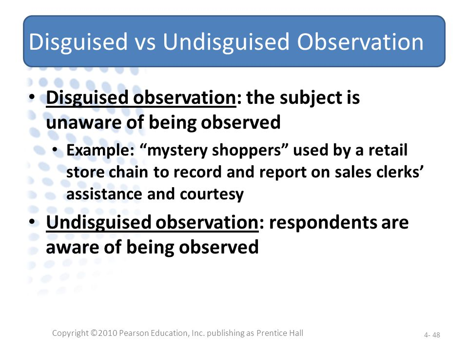 Disguised vs Undisguised Observation