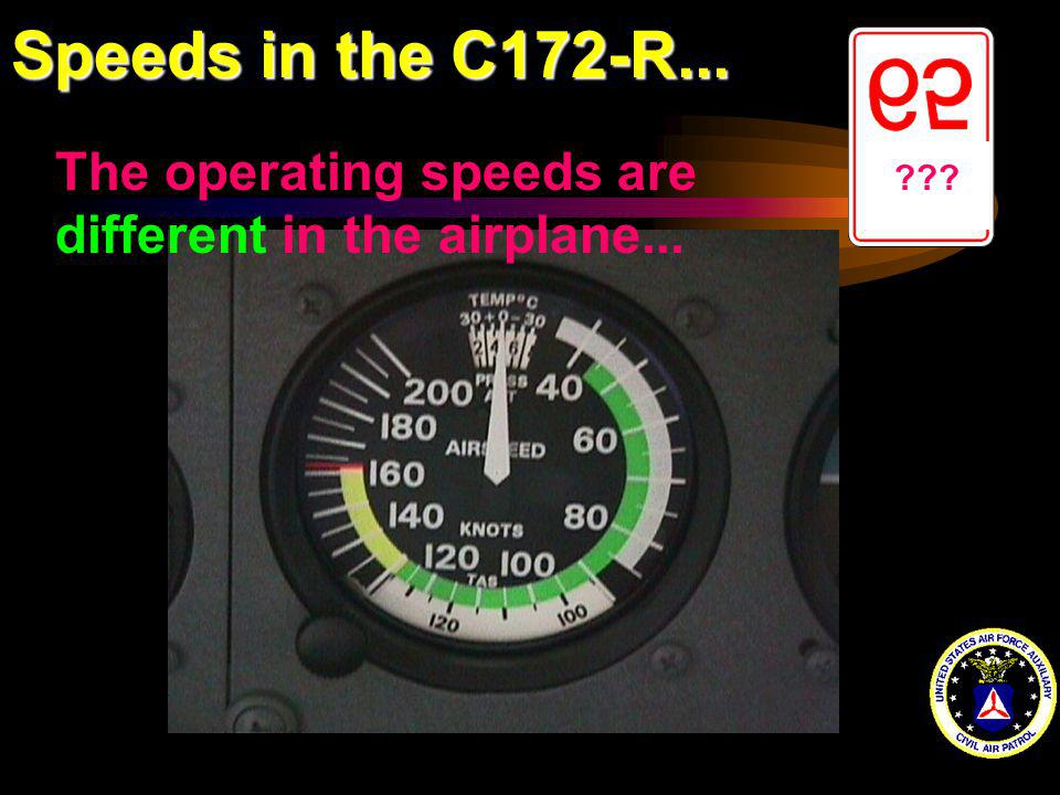 Speeds in the C172-R... The operating speeds are different in the airplane...