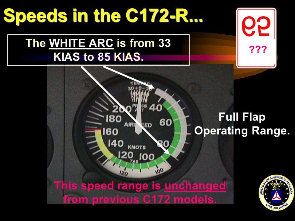 Speeds in the C172-R... The WHITE ARC is from 33 KIAS to 85 KIAS.