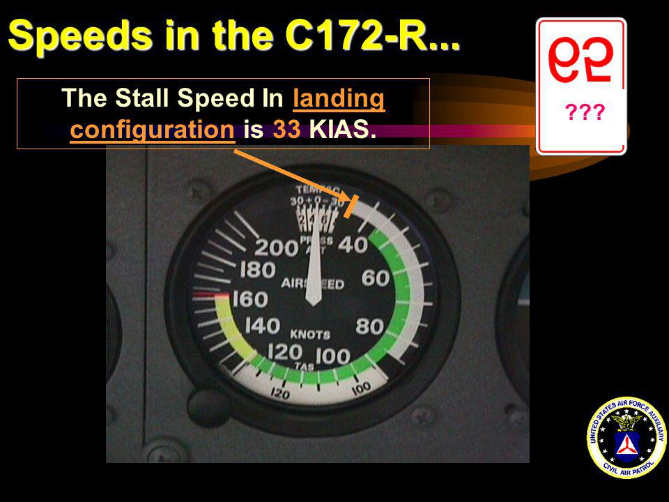 The Stall Speed In landing configuration is 33 KIAS.