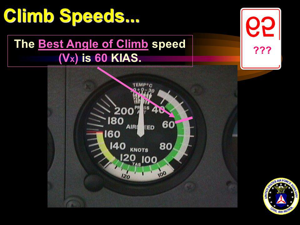 The Best Angle of Climb speed (Vx) is 60 KIAS.