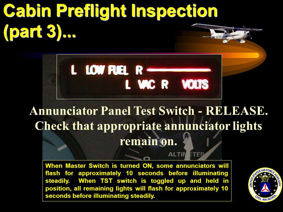 Cabin Preflight Inspection (part 3)...