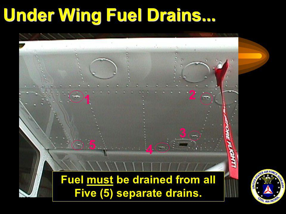 Fuel must be drained from all Five (5) separate drains.