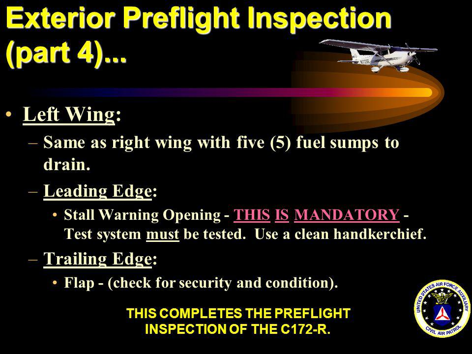 Exterior Preflight Inspection (part 4)...