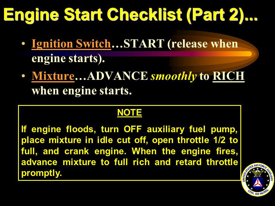 Engine Start Checklist (Part 2)...