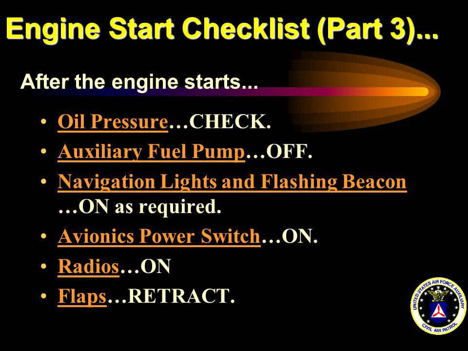 Engine Start Checklist (Part 3)...