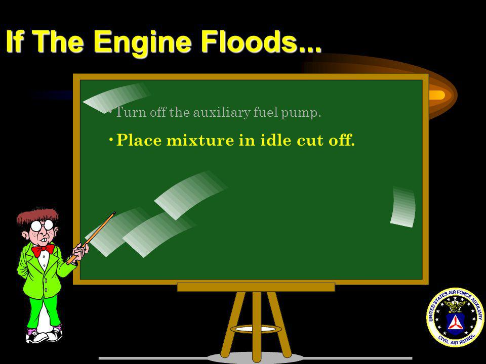 If The Engine Floods... Place mixture in idle cut off.