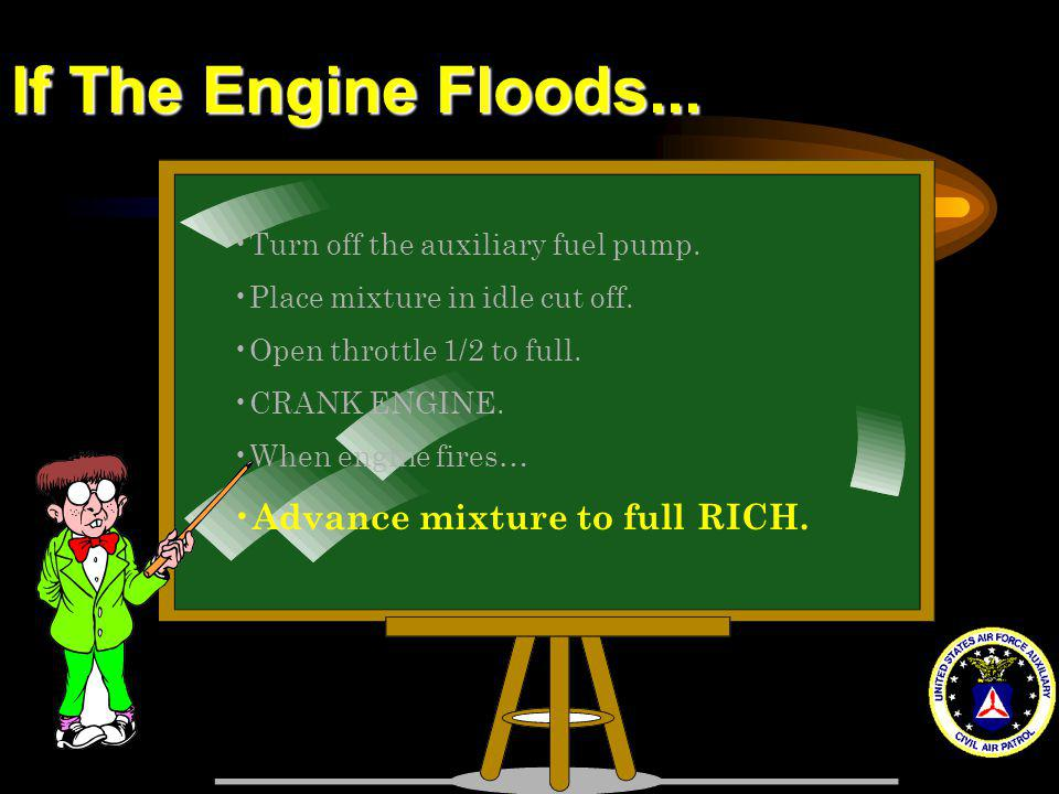 If The Engine Floods... Advance mixture to full RICH.