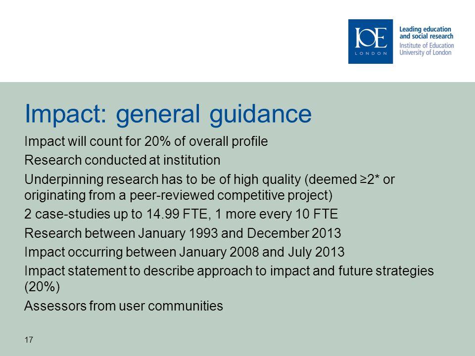 Impact: general guidance