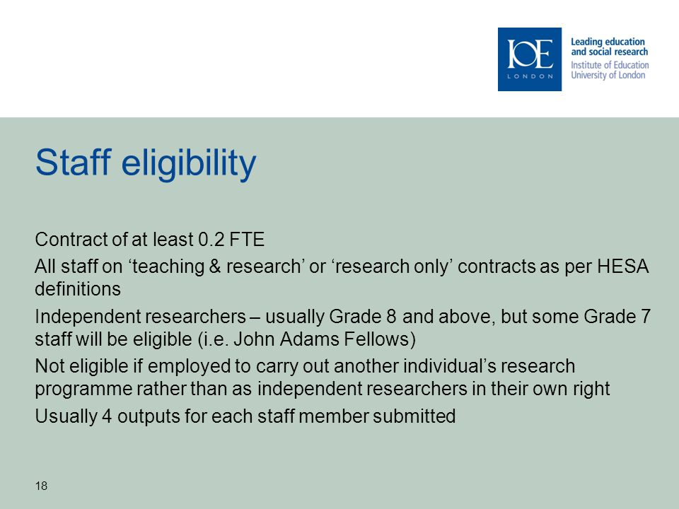 Staff eligibility Contract of at least 0.2 FTE