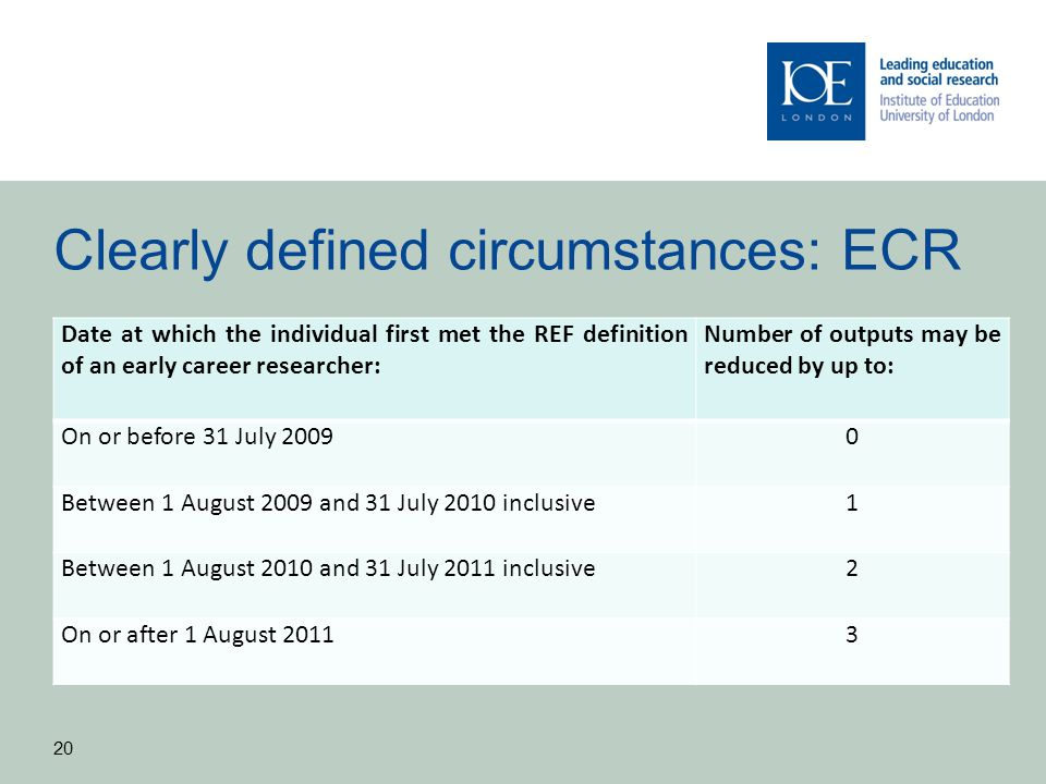 Clearly defined circumstances: ECR