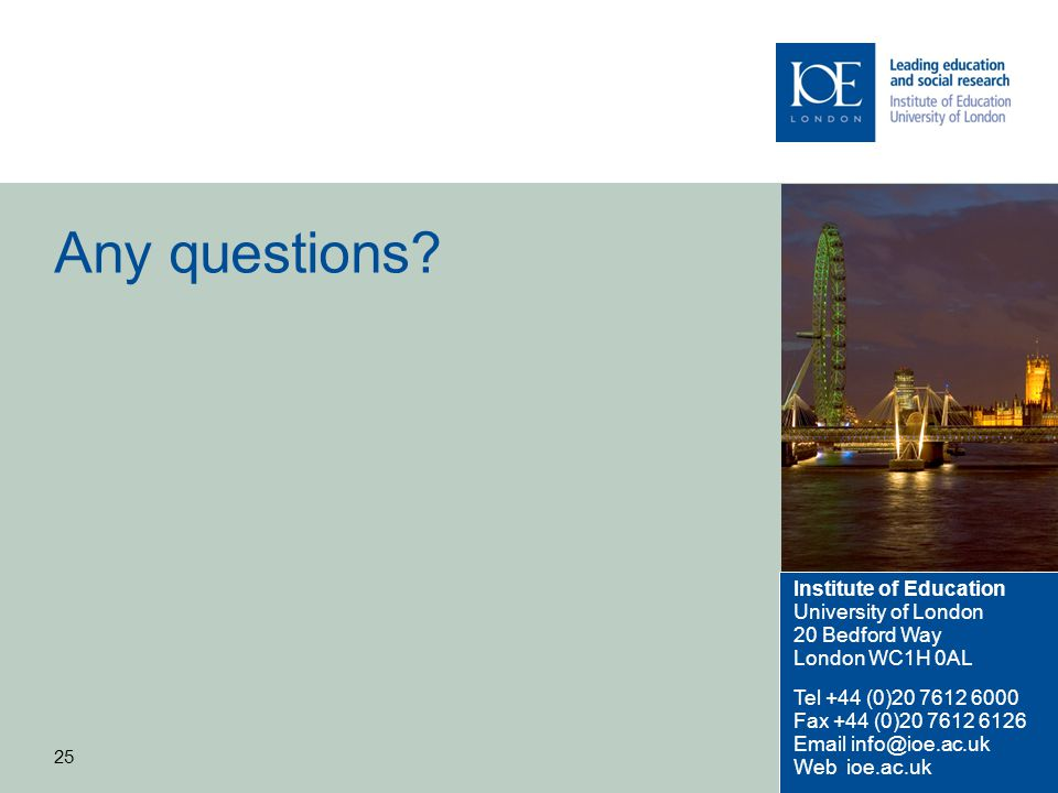 Any questions Institute of Education University of London