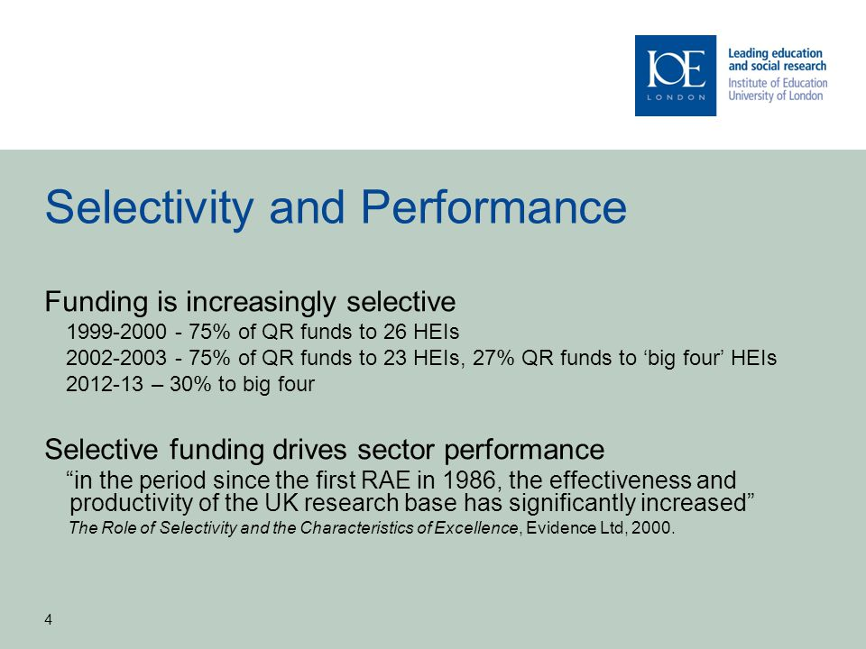 Selectivity and Performance