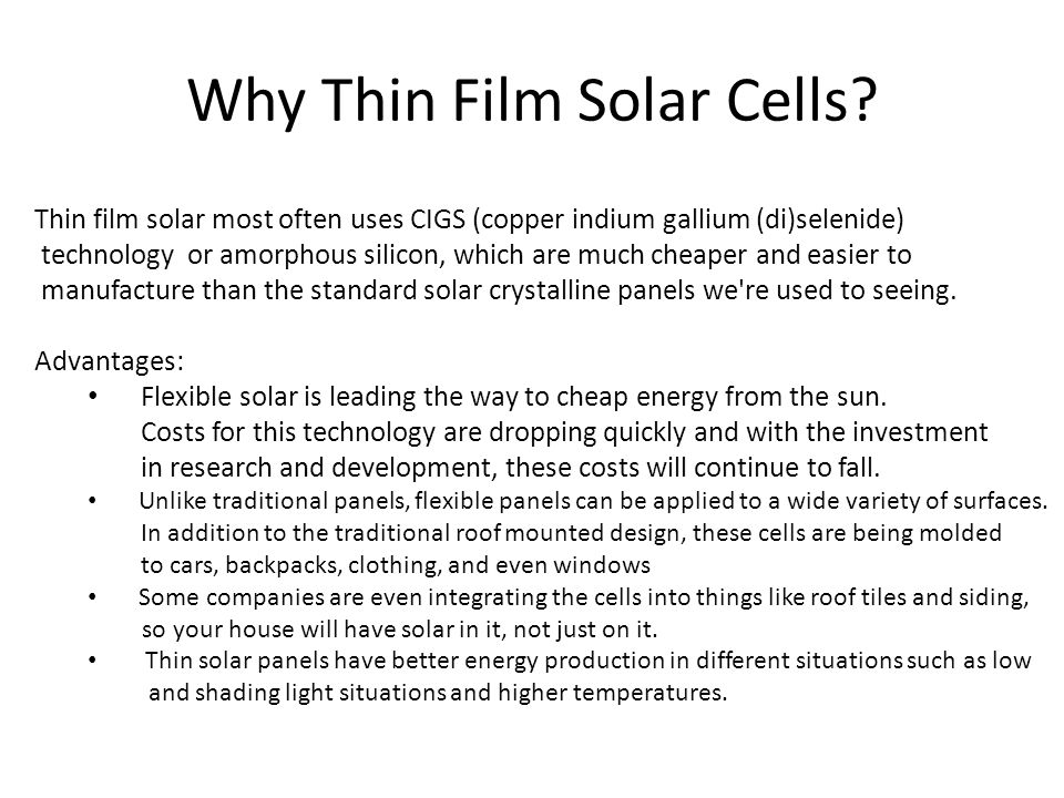High Efficiency Thin Film Solar Cells Ppt Video Online