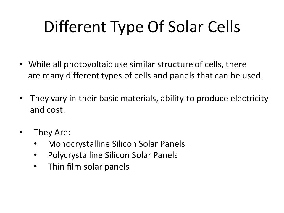 Different Type Of Solar Cells