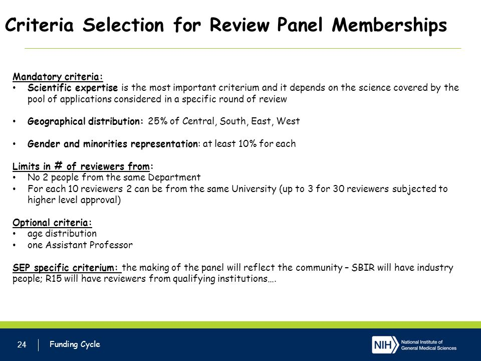 Criteria Selection for Review Panel Memberships