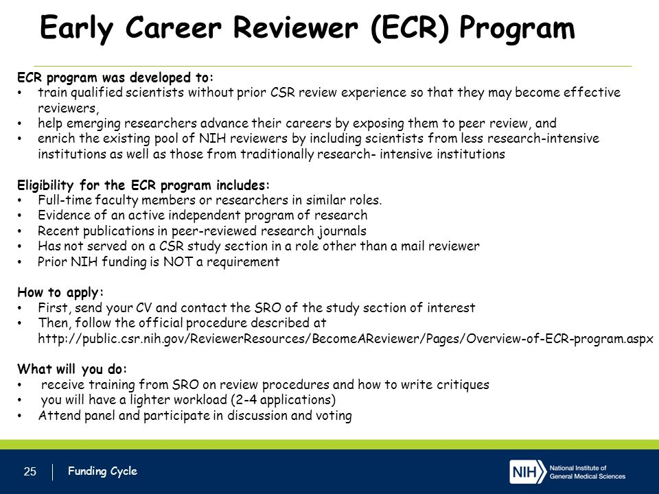 Early Career Reviewer (ECR) Program