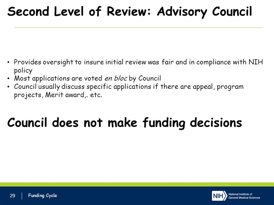 Second Level of Review: Advisory Council