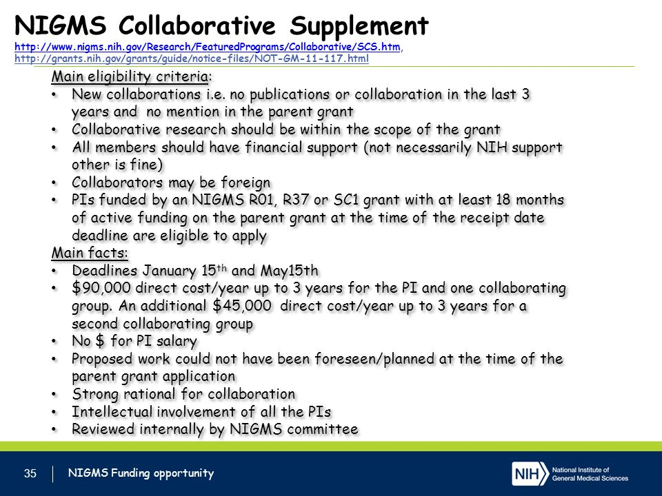 NIGMS Collaborative Supplement http://www. nigms. nih