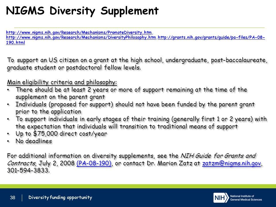 NIGMS Diversity Supplement http://www. nigms. nih