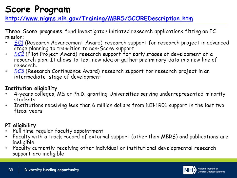 Score Program http://www. nigms. nih