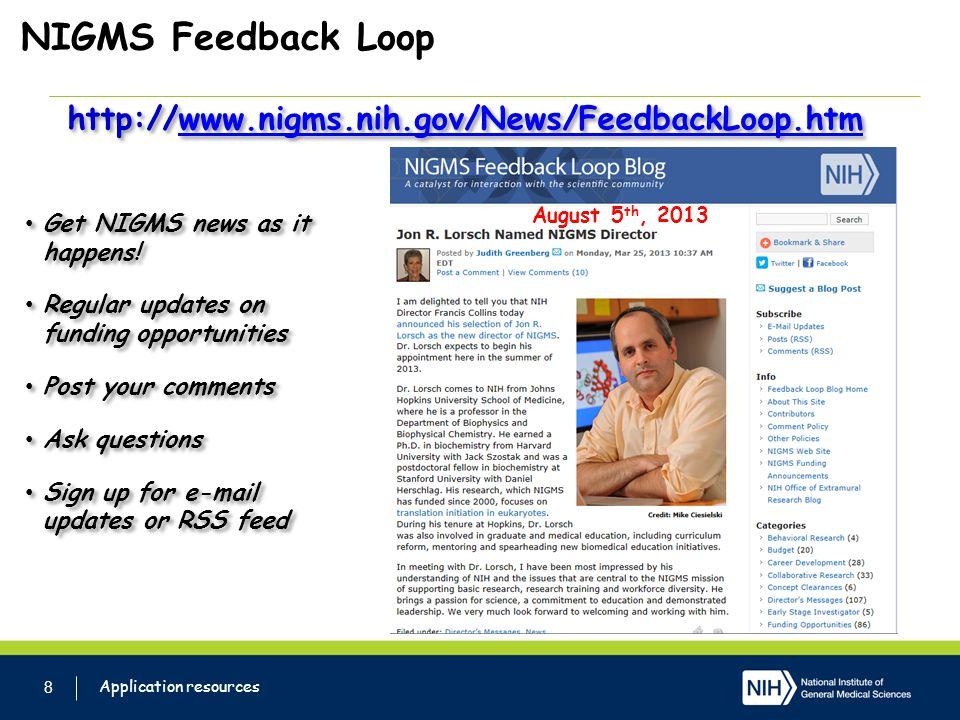 NIGMS Feedback Loop http://www.nigms.nih.gov/News/FeedbackLoop.htm