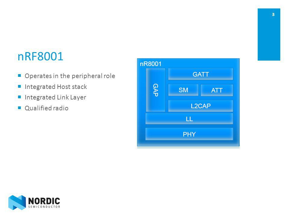 nRF8001 Operates in the peripheral role Integrated Host stack