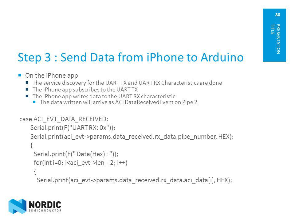 Step 3 : Send Data from iPhone to Arduino