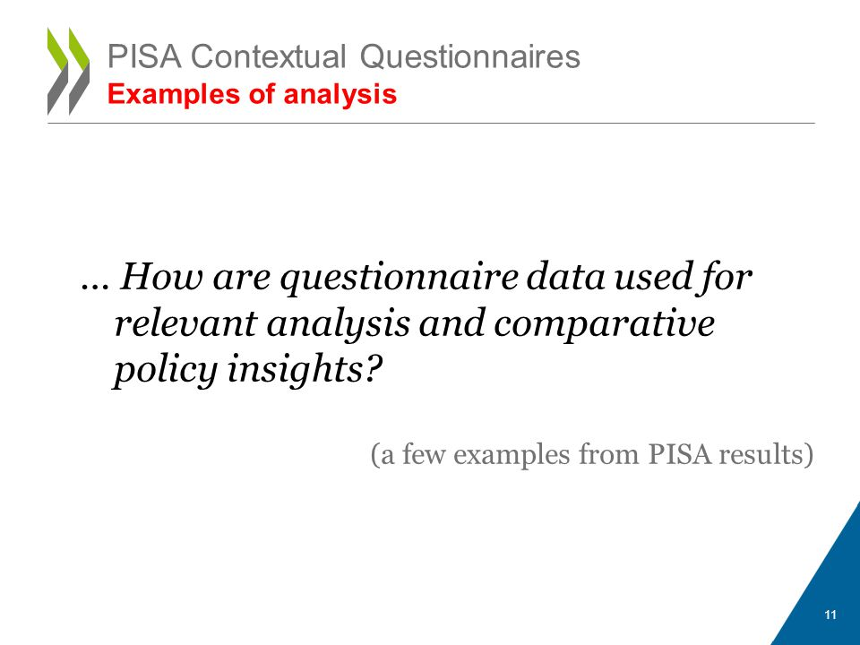 PISA Contextual Questionnaires Examples of analysis